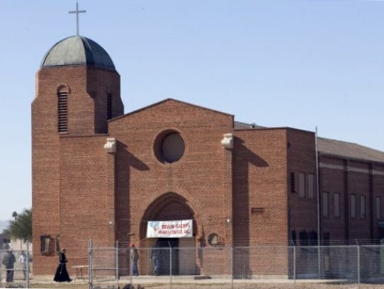 A historic relic of one of Phoenix's first Latino neighborhoods, Sacred Heart Church is open once a year for Christmas. Residents were moved out of Golden Gate Barrio in the 1970s and 1980s to make room for expansion of Phoenix Sky Harbor International Airport. Although many homes are gone, the neighborhood church remains.