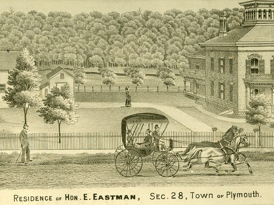 In the late 1870s and onward, Enos Eastman owned a large farm on the south edge of Plymouth along Highway 67. By 1880 he had built a cheese factory on the east side of the road just north of the Mullet River. He was the first president of the Sheboygan County Dairy Board of Trade when it was formed in 1882.