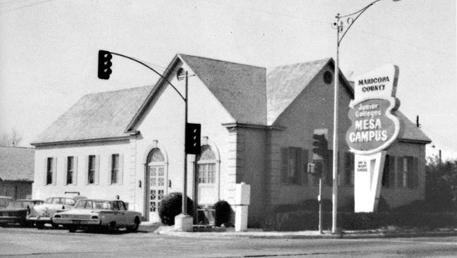 """Captioned """"Hokam House"""" this scarce view of the former Alma Ward LDS church building at Main Street and Extension appeared in the first yearbook of Mesa Community College."""