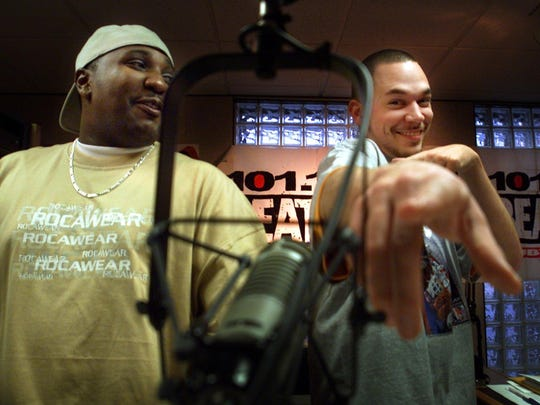 """A 2002 picture of Curtis """"Scooby"""" Senior, left, and his on-air partner, James """"Dolewite"""" Raymer, at Nashville urban radio station 101.1 The Beat."""