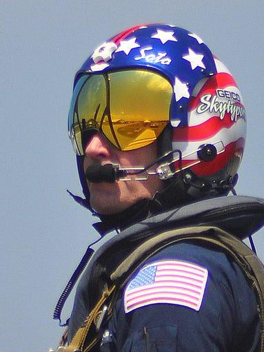 Geico Skytypers pilot Chris Thomas awaits clearance