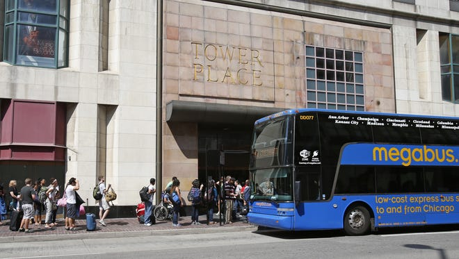Cincinnati passengers used to board Megabus.com outside the former Tower Place mall, at Fourth and Race streets in Downtown.