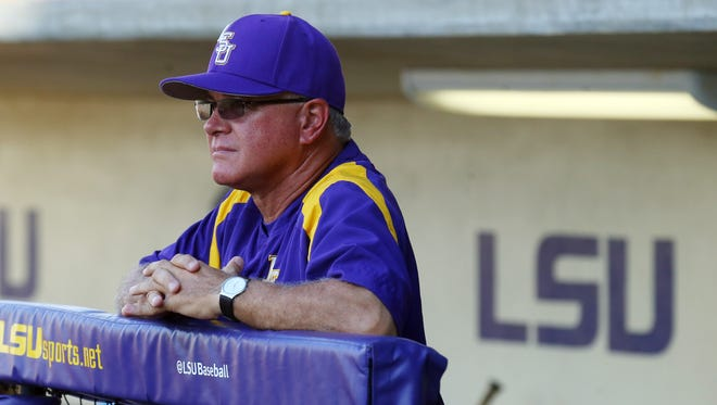 LSU Tigers head coach Paul Mainieri looks out as the Tigers are introduced prior to the first pitch of a game last season.