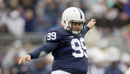 Penn State's Joey Julius kicks a field goal last season.