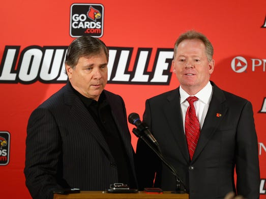 Tom Jurich, athletic director at the University of Louisville, introduces Bobby Petrino as the head coach of the University of Louisville at Papa John's Cardinal Stadium.