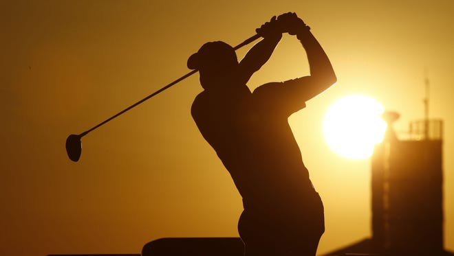 Peter Malnati teeing off at the ninth hole during the Waste Management Phoenix Open at TPC Scottsdale on Feb. 4, 2016.