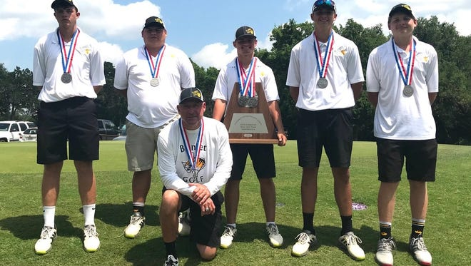 The Blanket boys golf team shows off its second-place medals and trophy at the Class 1A state golf tournament Tuesday, May 15, 2016 in Austin. Luke Kinkade, holding the trophy, also finished second in the individual competition.