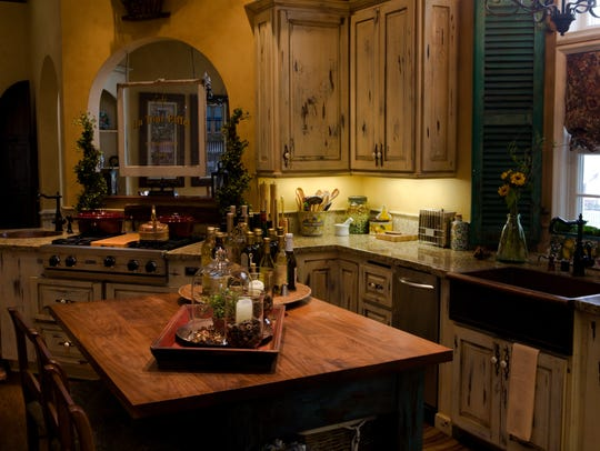 Add a rustic butcher block to your farmhouse kitchen.