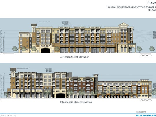 The Pensacola Architectural Review Board has released elevations and floor plans of the Studer Properties $50 million apartment and retail building planned for the former Pensacola News Journal site at Jefferson and Romana streets. They will review the renderings at their May 21 meeting.