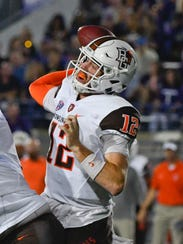 Bowling Green quarterback James Morgan (12) passes against Northwestern during the first half of an NCAA college football game in Evanston, Ill., Saturday, Sept. 16, 2017. (AP Photo/Matt Marton)