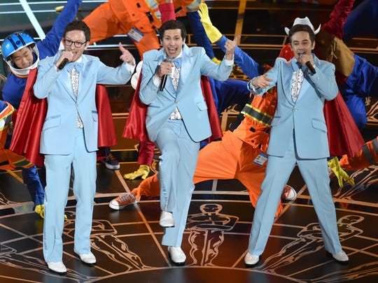 Akiva Schaffer, from left, Andy Samberg and Jorma Taccone of The Lonely Island perform June 26 at the Fox.