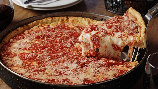 A deep-dish pizza from Lou Malnati's.