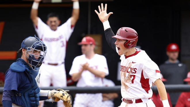 For Bobby Wernes (7) and the Arkansas Razorbacks, there was plenty to celebrate last week as the team swept its way to the Stillwater Region title. The price of poker goes up now, though, as the Hogs host No. 8 national seed Missouri State with a trip to the College World Series at stake.