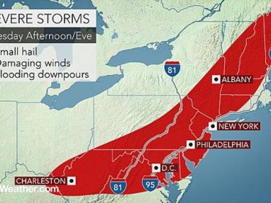 The Hanover-Adams area is under a tornado watch until 9 p.m., according to the National Weather Service at State College.
