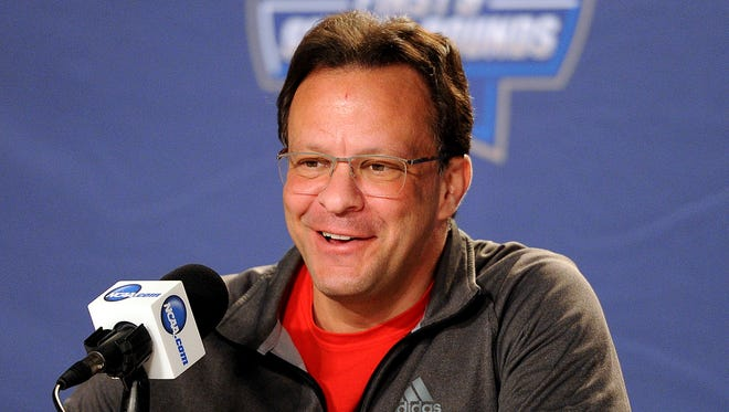 Mar 16, 2016; Des Moines, IA, USA; Indiana Hoosiers head coach Tom Crean speaks to the media during a practice day before the first round of the NCAA men's college basketball tournament at Wells Fargo Arena. Mandatory Credit: Steven Branscombe-USA TODAY Sports