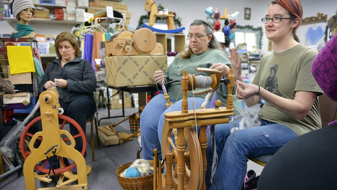 Knitters spin a variety of fibers into yarn in 2015 at Rocking Horse Farm in rural St. Cloud. The farm will host a fibershed meeting on May 20.
