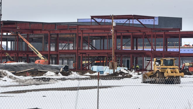 Construction continues on the new Sartell High School building Friday, March 2, in Sartell.