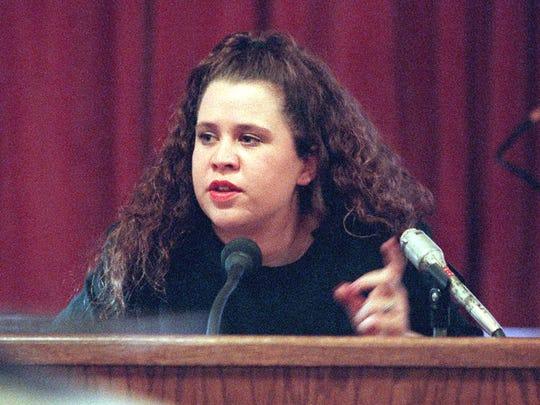 Jamie Borushaski testifies Jan. 17, 1997, during the