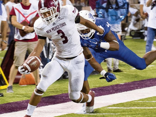 New Mexico State running back Larry Rose III and the Aggies offense have been impressive through the first two games of 2015. Gary Mook/ for the Sun-News