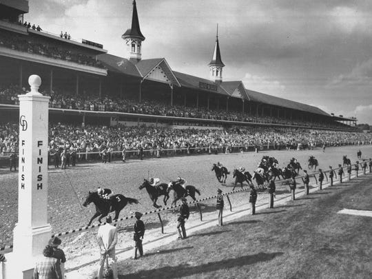 Seattle Slew leads the field toward the finish line to win the 103rd Kentucky Derby at Churchill Downs May 7, 1977 in Louisville, Ky.
