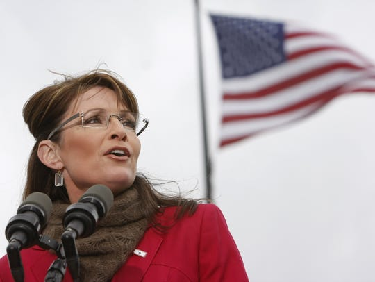 Vice presidential candidate Sarah Palin speaks to a
