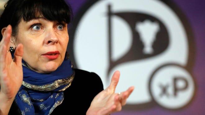 Birgitta Jónsdóttir of the Pirate Party addresses the media in Reykjavik, Iceland, Oct. 30, 2016
