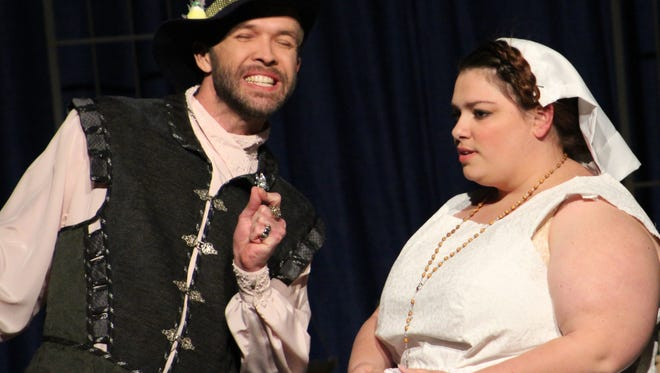 """Lucio (Keith May) tells of Claudio's travails with Claudio's sister Isabella (Megan Sorley), who has plans to be a nun in this rehearsal scene from Abilene Community Theatre's """"Measure for Measure."""""""
