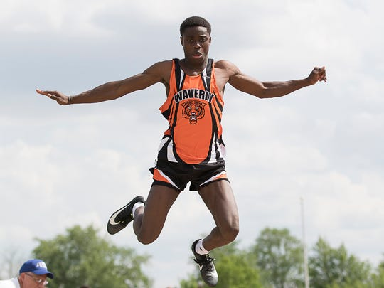Waverly's Cody Remington competed in the District II boys long jump finals, taking second place with 20-03.75.