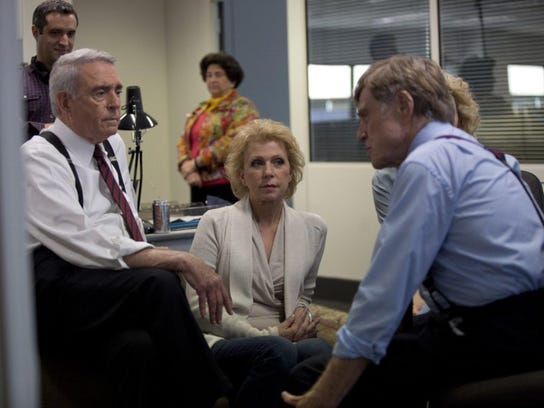 """Dan Rather, Mary Mapes and Robert Redford in """"Truth."""""""