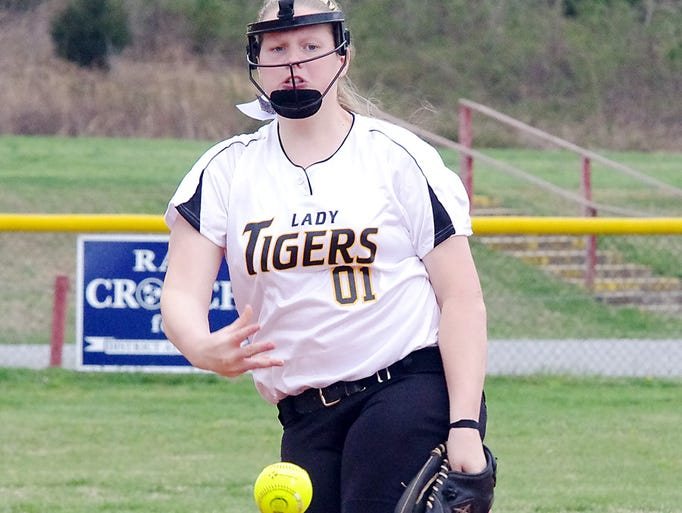Lennon Spicer strikes out another batter for the Lady Tigers - CMS softball vs. Waverly, April 3. The Lady Tigers won, 6-0.