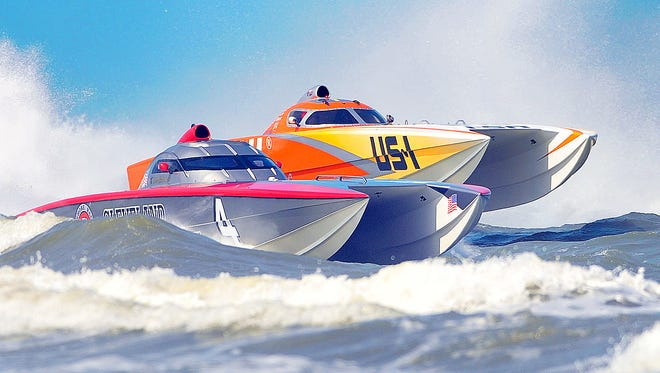 Race boats hit the throttle during the sixth annual Thunder on Cocoa Beach, Space Coast Superboat Grand Prix.