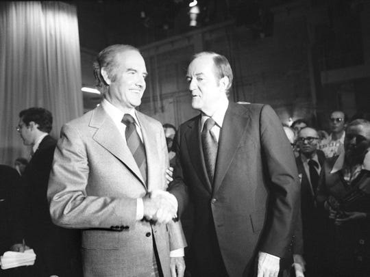 Democratic presidential candidate Hubert H. Humphrey, right, shakes hands with rival George McGovern, left, in 1972. Humphrey was the York County favorite, but McGovern won the nomination.