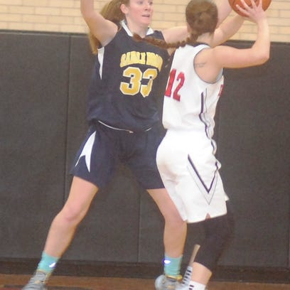 Saddle Brook's Brianna Brooks (33) is taking her hoops