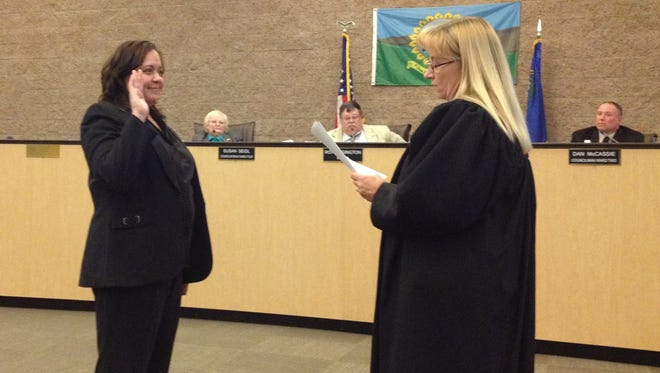 City manager Daphne Hooper is sworn in by Municipal Court Judge Lori Matheus at the March 4 Fernley City Council meeting.