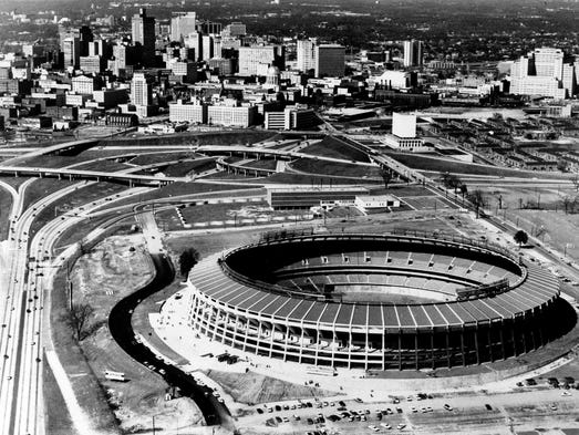 The new $18-million stadium for the Braves is shown on April 9, 1965. The Braves baseball team officially moved to Atlanta, Ga., in 1966.