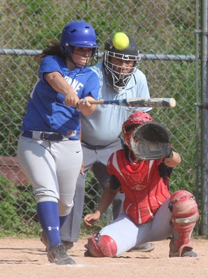 Haldane's Mackenzie Tokarz drives in two runs with a double during a Section 1 Class C softball semifinal at Manhattanville College May 26, 2015. Haldane won 13-5.