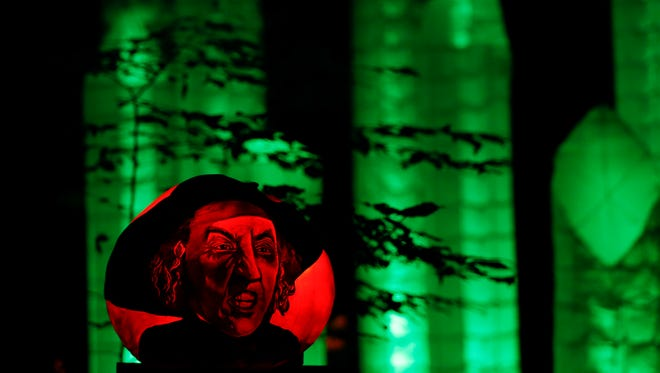 A pumpkin carved with the likeness of the wicked witch from the Wizard of Oz at the Jack-O-Lantern Spectacular.Oct. 8, 2015