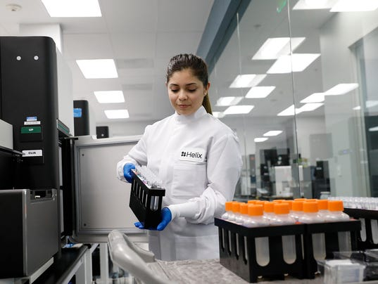 File shot of testing samples from Helix's labs.