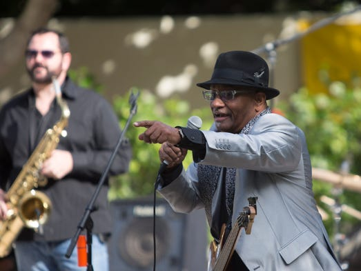 The Blues Review Band performs during the Sunday A'Fair