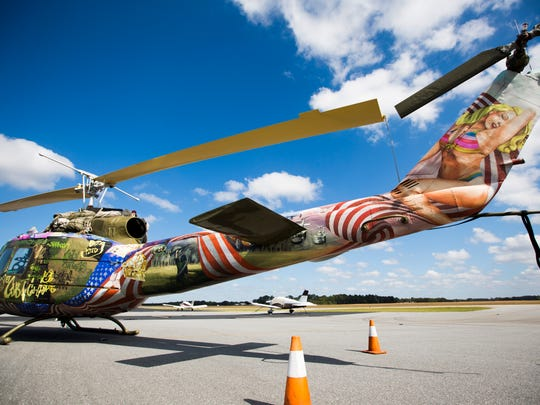 A Huey helicopter, an aircraft famous for it's medical evacuations during the Vietnam War, will be featured in the 2016 Bill and Jo Trent Airshow and is stored at the Anderson Regional Airport on Monday, October 17, 2016 in Anderson.