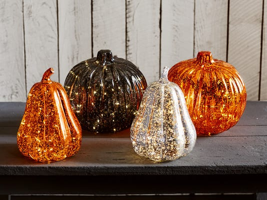 Mercury glass and resin pumpkins