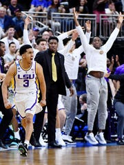 LSU Tigers guard Tremont Waters and the bench celebrate a basket against the Maryland Terrapins during the second half in the second round of the 2019 NCAA Tournament at Jacksonville Veterans Memorial Arena.