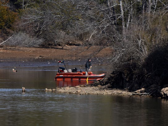 Scene in Blount County where sheriff's deputies and volunteers searched for Blake Smith on Monday, Feb. 5, 2018. Smith's car was found wrecked at a construction site in Blount County with a cinder block on the gas pedal, said his aunt, Jill Brasher Williams.