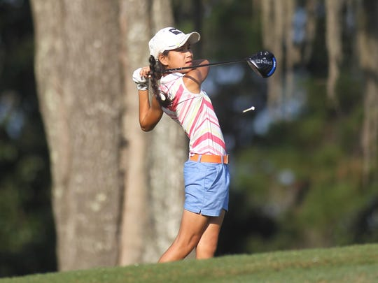 Community Christian sixth grader Tynley Cotton watches her tee shot on Capital City Country Club's fourth hole during Thursday's Big Bend Championship.