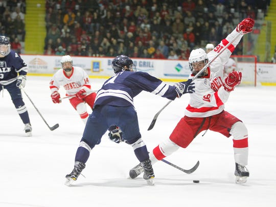 Cornell's Matt Buckles fights off pressure from Yale's Matt Foley in the first period of Saturday's game at Lynah Rink in Ithaca.