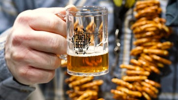 Many people wore a necklace of pretzels for snacks between beer samples at the Craft Beer Tour on Saturday, Jan. 16, at the River's Edge Convention Center.