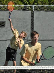 Rider High School boy's doubles tennis players Matthew
