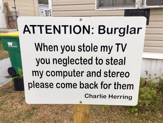 Marine Corps veteran Charlie Herring posted this sign