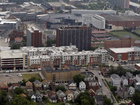 A 2014 aerial view of development along West McMillan
