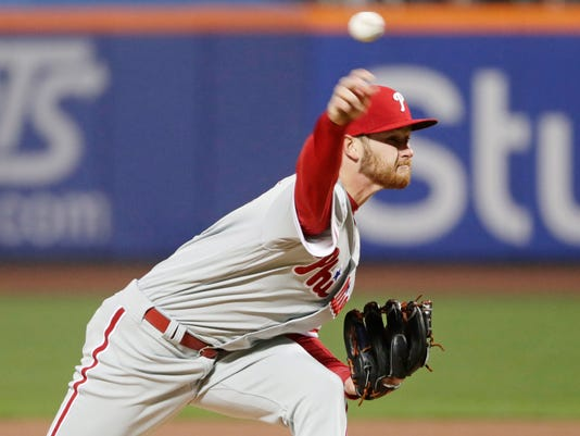 Philadelphia Phillies' Ben Lively delivers a pitch during the first inning of a baseball game against the New York Mets Tuesday, April 3, 2018, in New York. (AP Photo/Frank Franklin II)